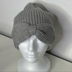 Kate Spade New York Pointy Bow Beanie Heathered Gray One Size NWOT